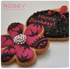Birthday Cookies in Fuchsia Pink & Black Icing - Halloween by rosey sugar, via Flickr