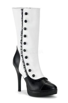 Features: Faux leather, rounded toe front, ruffle trim, button side decor, and 4 1/2 inch heels.