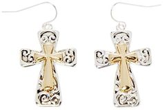 Earrings - Silver Tone and Gold Tone Christian Cross Earrings - Kiki's Scrolled Crosses by kikisjewels -- Awesome products selected by Anna Churchill