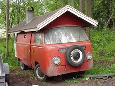 Volkswagen 1971 VW camper campervan panel van house shed shack cabin Volkswagen Bus, Vw T1, Vw Caravan, Vw Camper, Hippie Camper, Van Life, Mobile Sauna, Vans Vw, Combi Wv