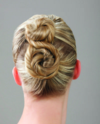 hairnet hairstyles dance | Tip: Start with two ponytails and make a bun with each by twisting ...