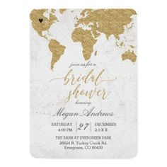Gold Foil World Map Bridal Shower Invitation - wedding invitations cards custom invitation card design marriage party