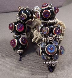 Handmade Lamp work Beads by MonasLampwork  Royal by MonasLampwork, $49.00