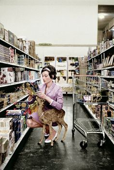 Audrey Hepburn Shopping with Her Pet Baby Deer