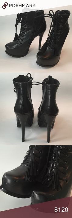 ALDO booties tassel boots black leather size 6.5 ALDO booties tassel boots black leather size 6.5. Retail $179. Aldo Shoes Ankle Boots & Booties