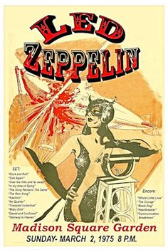 """Led Zeppelin Concert Poster 1975 Madison Square Garden NYC • 100% Mint unused condition • Well discounted price + we combine shipping • Click on image for awesome view • Poster is 12"""" x 18"""" • Semi-Gloss Finish • Great Music Collectible - superb copy of original • Usually ships within 72 hours or less with tracking. • Satisfaction guaranteed or your money back.Go to: Sportsworldwest.com"""
