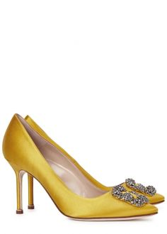 MANOLO BLAHNIK Hangisi canary yellow satin pumps - Mid Heel Pumps - Pumps - All Shoes - Women