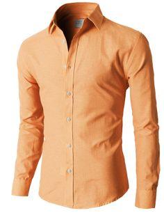 Doublju Oxford Cotton Slim Fit Casual Button-down Shirts Long Sleeve (KMTSTL0219) #doublju