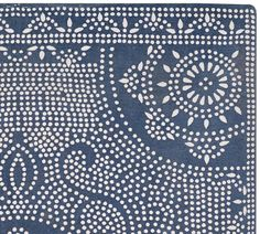Shibori Dot Printed Indoor/Outdoor Rug - Blue Jay