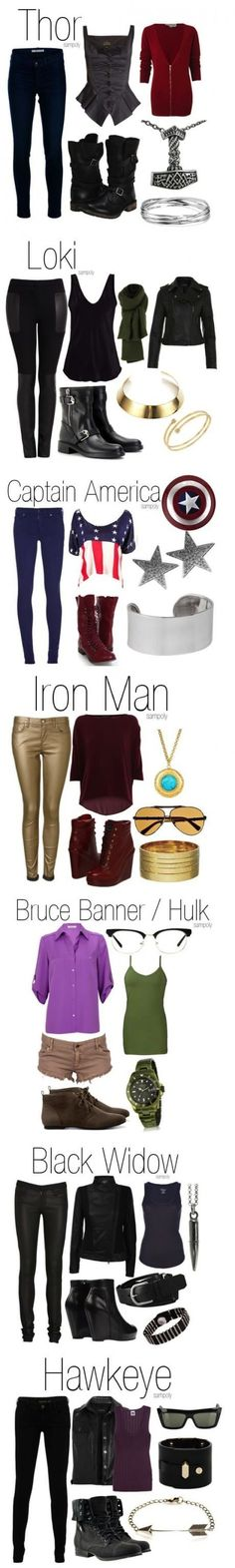 Avengers fashion.    I would wear any of theses outfits. ...except for some of the shoes.