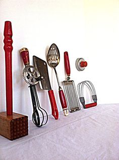 Vintage 1940s Red Kitchen Tools  Collection