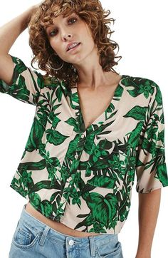 $58 Topshop 'Holly' Tropical Print Short Sleeve Shirt available at #Nordstrom