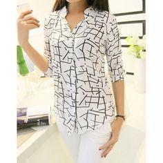Stylish V-Neck 3/4 Sleeves Printed Blouse For Women