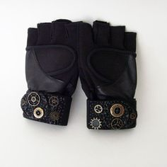 Mens Black Exercise Gloves / Mens LARGE Wrist Wrap by ME2Designs