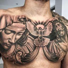 60 Jesus Tattoo Designs For Men - Religious Ink Ideas - Tattoos - tatouage Cool Chest Tattoos, Chest Piece Tattoos, Best Sleeve Tattoos, Dope Tattoos, Tattoo Sleeve Designs, Trendy Tattoos, Tattoo Designs Men, Body Art Tattoos, Tribal Tattoos
