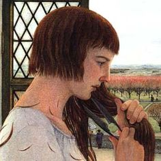Joan cutting her hair, Josephine Poole