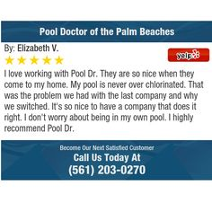 I love working with Pool Dr. They are so nice when they come to my home. My pool is never...