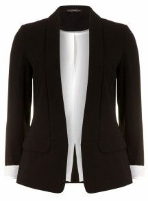 Black jacket with decorative stitching on the collar
