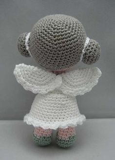 Flower Angel (Amigurumi Puppe Häkelanleitung pdf) - New Ideas Amigurumi Patterns, Amigurumi Doll, Doll Patterns, Crochet Angels, Crochet Dolls, Half Double Crochet, Single Crochet, Love Crochet, Fimo