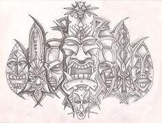 hawaiian tattoos for couples Tiki Maske, Yogi Tattoo, Tiki Faces, Tiki Head, Native Tattoos, Tiki Totem, Tiki Lounge, Tiki Art, Hawaiian Tiki