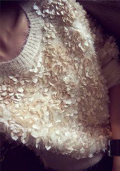 3D-petals Mohair Apricot Sweater - Top