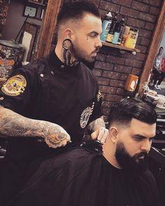 Black barber smock made by @sartorandvillain #barber #barbershop #sartorandvillain
