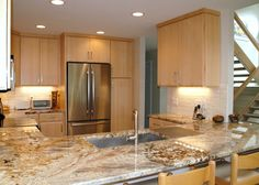 kitchen with natural maple cabinets - Google Search