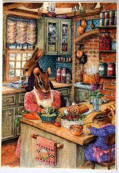 "Vintage Illustration ""December Christmas Baking"" by Susan Wheeler Susan Wheeler, Lapin Art, Art Vintage, Bunny Art, Old Fashioned Christmas, Beatrix Potter, Whimsical Art, Cute Illustration, Illustrations"