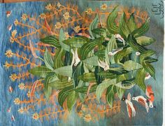 Green Leaves and Birds by Reda Ahmed X m Blue Yellow, Orange, Purple, Green Tara, Tapestry Weaving, Fabric Art, Yarn Crafts, Tapestries, Green Leaves