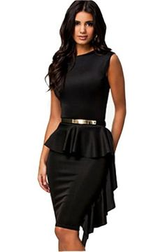 WIIPU Women Elegant Classic Black One-Side Draped Stylish Peplum Dress(J2-29). Was: $99.99 Now: $35.99
