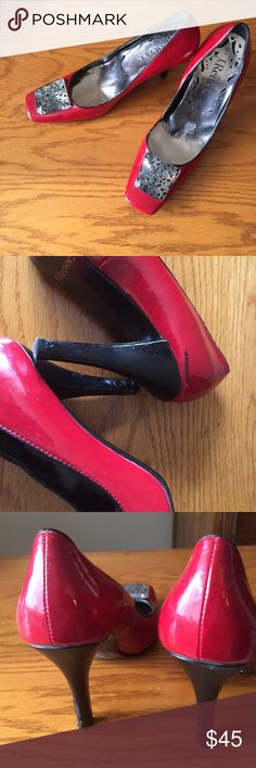 J Renee red pumps These are really cute red pumps! I love these shoes but can't wear pumps anymore. There is some damage to the heels but not really noticeable and one black mark as shone in pictures. my loss your gain. J Renne Shoes Heels