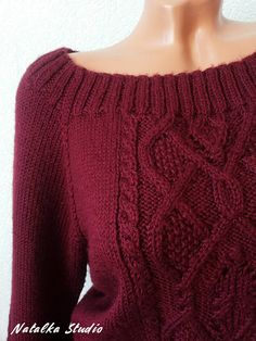 Knit Sweater Knitwear for women Hand Knitted Sweater Pullover Autumn Sweater Winter sweater Womens open shoulder Burgundy sweater Knitted jumper with raglan Material: Acrylic