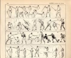 Stick-fighting Canne de combat Antique Print 1897 by Craftissimo