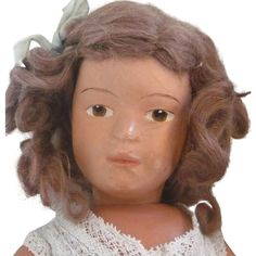14 Inch Schoenhut Character Nice Face Brown Intaglio Eyes Original Side Part Wig Union Suit