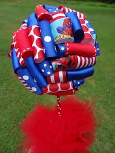 Ribbon Topiary Spiderman Blue and Red for by TangledRibbonParties,