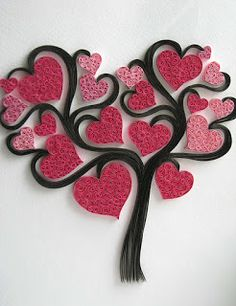 quilled heart tree
