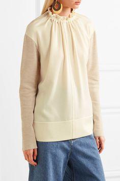 Marni - Gathered Crepe-paneled Wool-blend Top - Beige - IT36