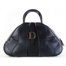 a3b833e723bc Christian  Dior Black Leather Bowler Handbag Dior Handbags