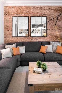 """Putting The """"Living"""" Into Your Living Room Furniture Brick Wall Living Room, Living Room Design Modern, Accent Walls In Living Room, Brick Living Room, Living Decor, Interior Design, House Interior, Living Room Furniture, Home Deco"""