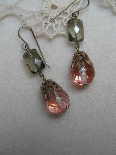 Marie's Pink and Gray Earrings by CaraScarlett on Etsy
