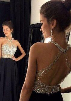 Black Prom Dresses,Beaded Prom Dress,Sexy Prom Dress Sexy A-line Beaded Black Long Chiffon Open Back Prom Dress/Evening Dress