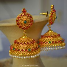 Buy Handcrafted Earrings, Necklaces, Pendants, Anklets, Bangles & Bracelets Online Price from Aadyaa. Gold Jhumka Earrings, Indian Jewelry Earrings, Jewelry Design Earrings, Gold Earrings Designs, India Jewelry, Gold Jewellery Design, Temple Jewellery, Gold Jewelry, Jhumka Designs