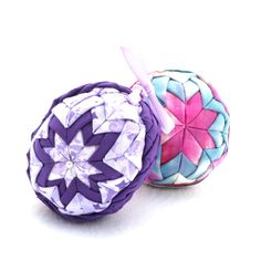 """Handmade Quilted Egg Ornament - Folded Fabric in Royal Purple and Lavenders - One of a Kind Keepsake by CreationsByJDB.  Gift idea for Easter, Christmas or Baby Shower.  Click the """"visit"""" button to purchase this unique Easter egg ornament through my Etsy shop and see some other home decor ideas."""