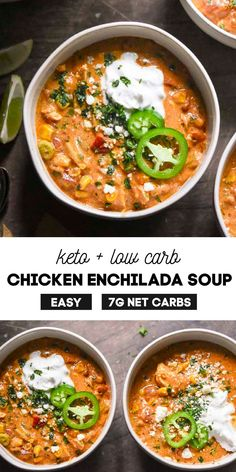 *NEW* This Chicken enchilada soup recipe is the WHOLE enchilada and more! Vibrant Mexican flavors are bursting in every single bite of this one-pot delectable concoction! #chickenenchiladasoup #ketochickenenchiladasoup #chickenenchiladasoup #keto #lowcarb Rotisserie Chicken Soup, Low Carb Chicken Soup, Chicken Enchilada Soup, Paleo Chicken Recipes, Paleo Recipes, Soup Recipes, Mexican Recipes, Low Carb Taco Seasoning, Keto Soup