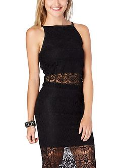 image of Cropped High Neck Lace Tank