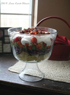 24/7 Low Carb Diner: Trifle Bowl Potluck Salad