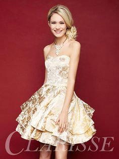 Strapless Short Homecoming Dress 3310. Unique pretty vintage metallic gold dress. | Promgirl.net