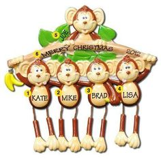 Monkey Family 5 Personalized Christmas Ornament