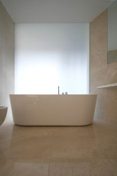 A bathroom detail, with translucent wall in background