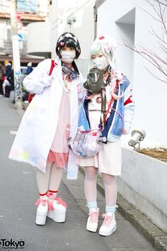Nata and Sato@310 are two 16-year-old girls we met in Harajuku. Their eye-catching looks mix pastel nurse-inpsired fashion with decora hair clips, a gas mask, and a randoseru backpack. #tokyofashion   #street snaps   #Harajuku